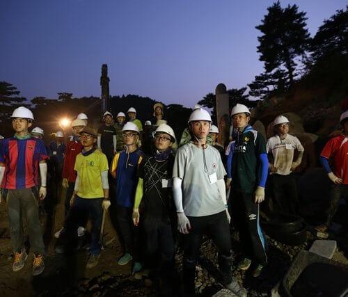 月明洞:宴会厅石头造景工程复工